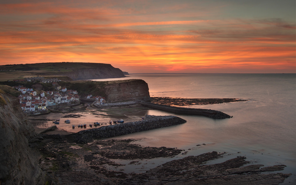 Sunset over Staithes from the Cleveland Way