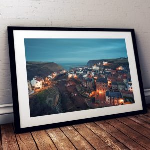 Staithes at dusk in Black Frame