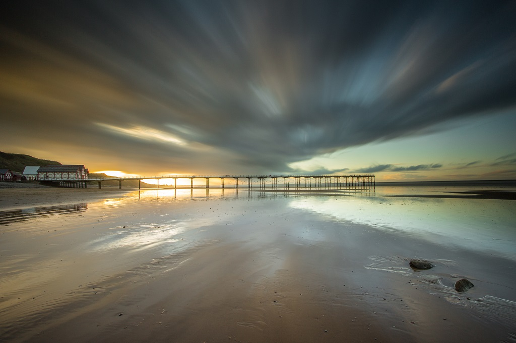 Saltburn Pier long exposure shot of the sunset.