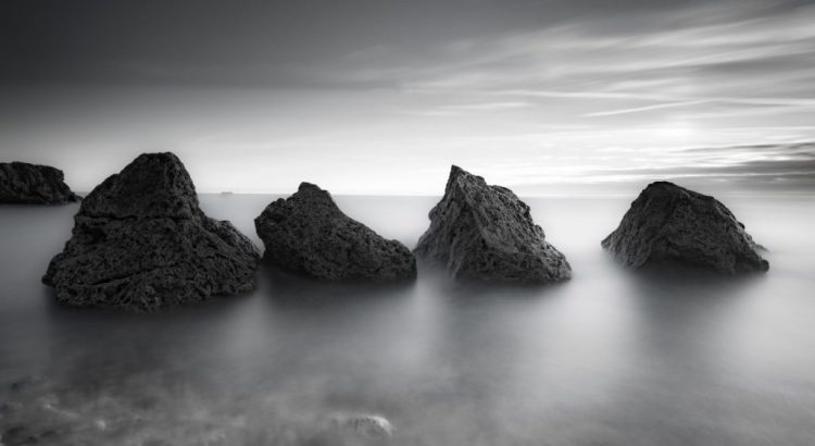 Long exposure seascape of the rocks at Trow Point, South Shields