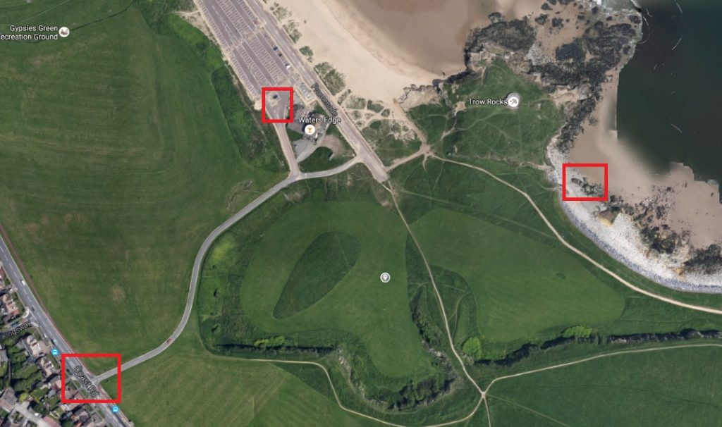 Trow Point Location, Parking and Trow Rocks