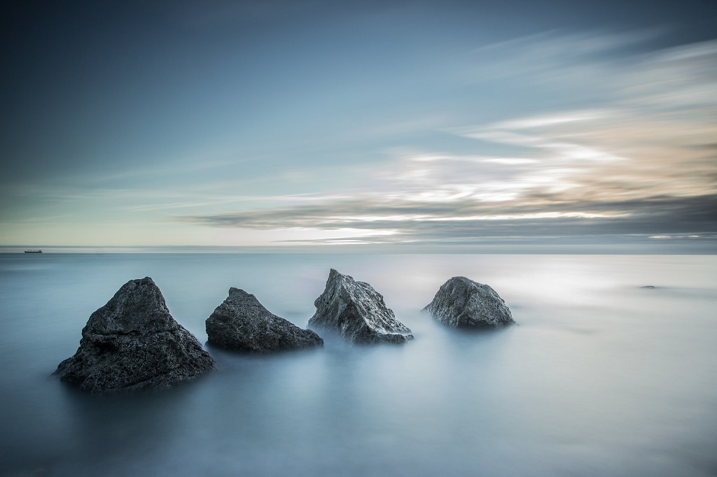 A Long Exposure shot of the rocks at Trow Point
