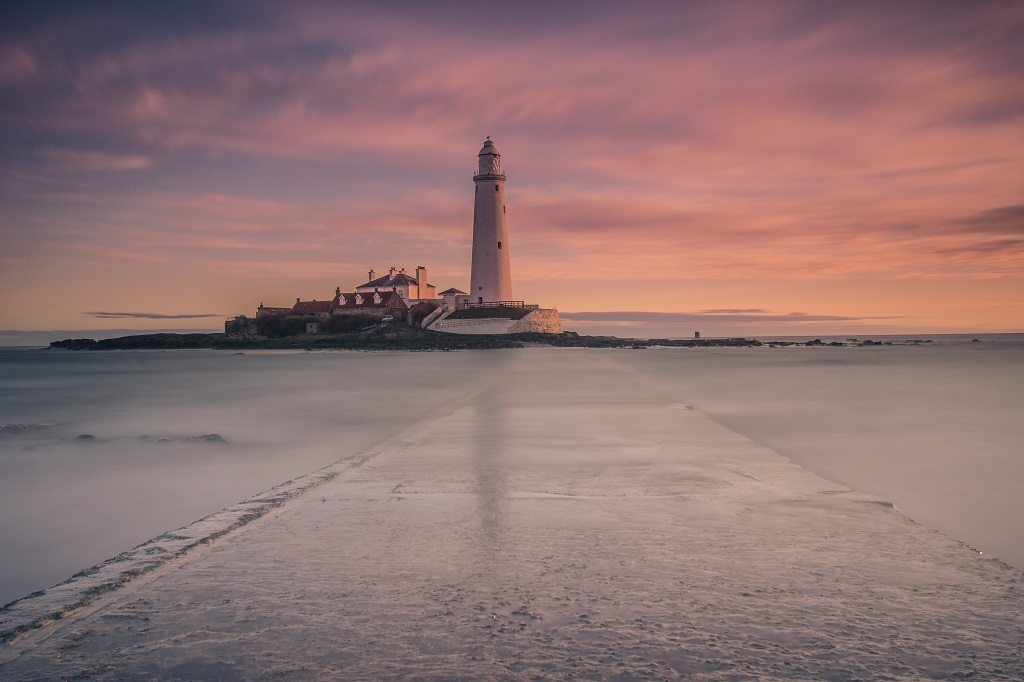 St Mary's island causeway. Whitley Bay, Blyth, Northumberland.