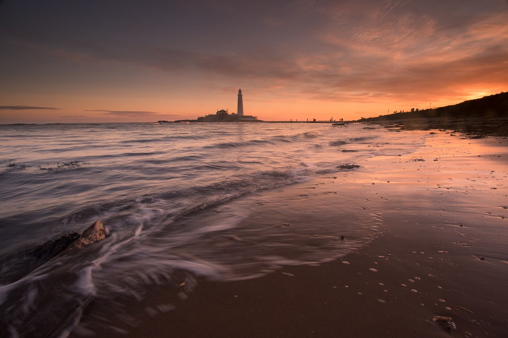St Mary's Lighthouse Sunrise From The Beach