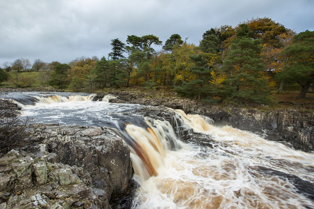 Low Force Waterfall, Teesdale from the South bank on the walk to High Force.