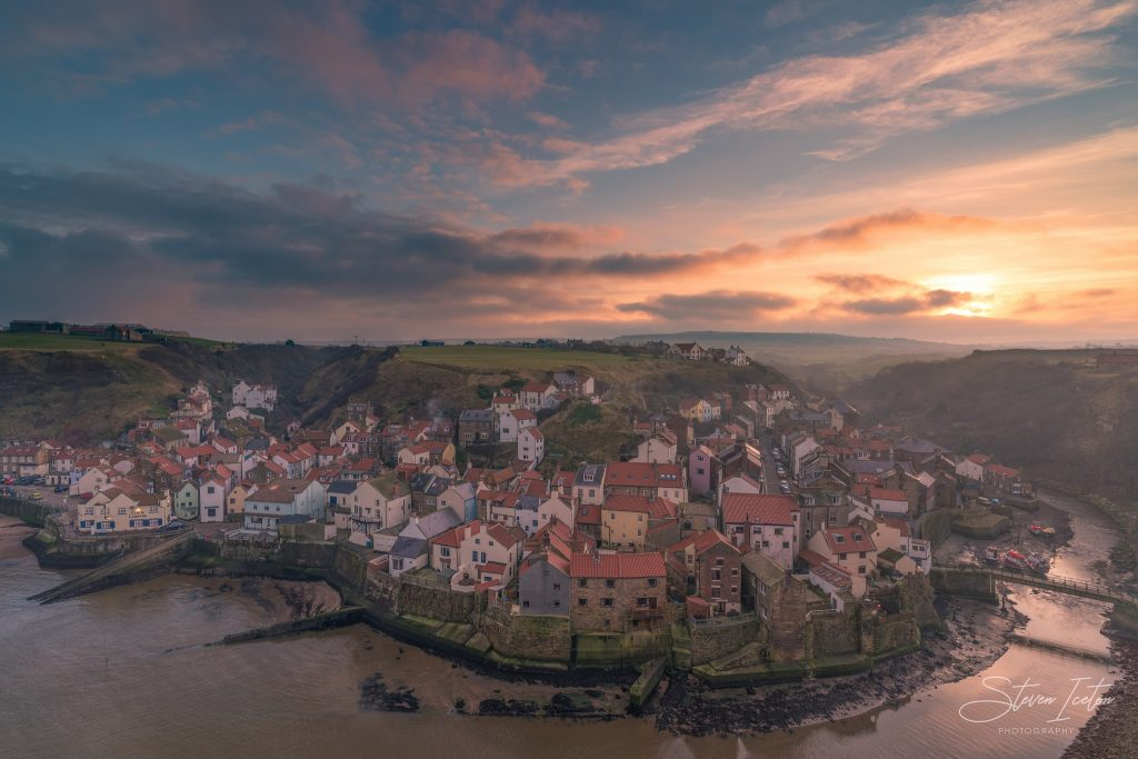 Misty Sunset Staithes