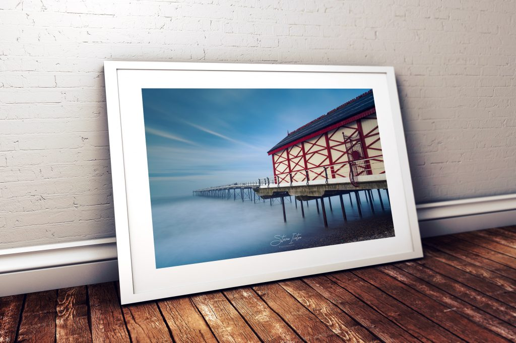 Saltburn Pier Spring. Available both mounted from £24.99 or framed from £39.00 in a choice of black or white mouldings.