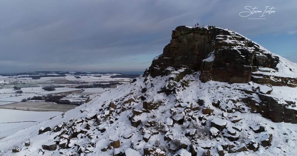 Roseberry Topping Winter Snow Drone