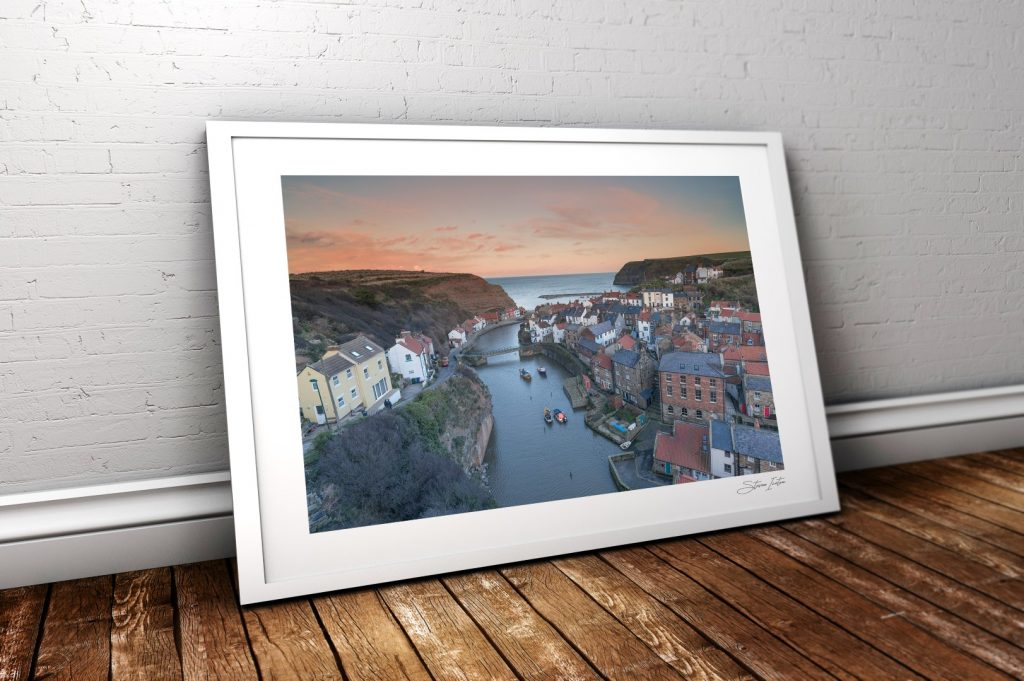 Staithes Sunset White Frame